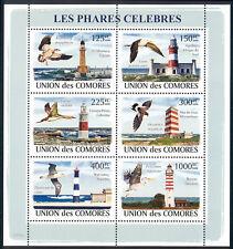 Comoro Islands - 2009 s/s of 6 Birds & Lighthouses #1033 cv $ 12.50 Lot # 41