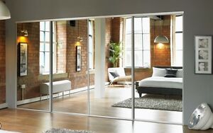 4 Sliding Mirror Wardrobe Doors - Made to Measure - Pre-assembled with tracks