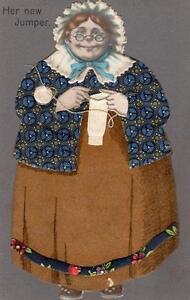 Her New Jumper Knitting Novelty unused old postcard Alpha