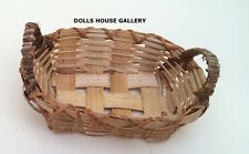 Wicker Basket With Handles, Dolls House Miniature, Miniatures, 1.12 Scale