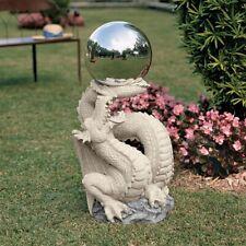 "30"" Gazing ball Mirrored Globe Atop a Dragon Pedestal Sculpted Home Yard Decor"