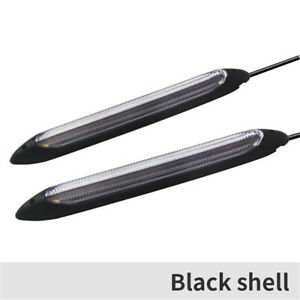Car LED Daytime Running Light DRL Strips Headlight Amber Turn Signal Lamps 2Pcs