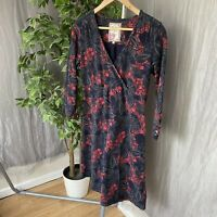 MANTARAY Dark Blue Pink Multi Floral Print SIZE 12 UK Wrap Front Dress