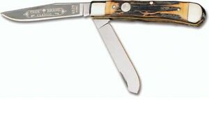 BOKER KNIFE-GENUINE STAG HANDLE TRAPPER- STAINLESS STEEL #4525 - MADE IN GERMANY