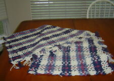 New Handcrafted Afghan/Throw in Rose Cream and Blues Plaid