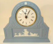 Vintage Wedgwood Blue Jasperware Laurel Mantel Clock c1990 VGC