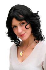Ladies' Wig Black Curls Curly Shoulder Length Parting 35 cm 4019-1B