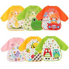 3pcs Wasserdicht Kleinkind Baby Lätzchen Malschürze Spucktücher mit Ärmel Latz