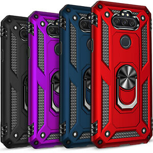 For LG Phoenix 5 Phone Case,  Ring Kickstand Cover + Tempered Glass Protector