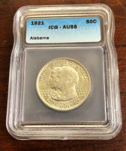 1921 50C Alabama Commemorative Half Dollar ICG AU55