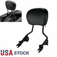 Adjustable Sissy Bar Pad Backrest For Harley FLD FXDF FLHTCU FLHTK FLTRU 09-19