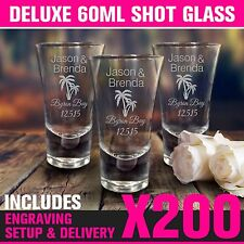 200x 60ml Engraved Deluxe Shot Glasses BULK Wedding Favour Shotties Personalised