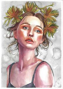 original painting A4 294SAn art samovar Watercolor Modern female portrait Signed