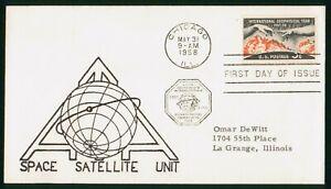 Mayfairstamps US FDC 1958 International Geophysical Year Satellite Unit First Da