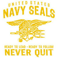 NEW Navy Seals Never Quit. Ready To Lead - Ready To Follow T-shirt. Black