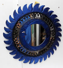 Espejo sol luna azul antiguo diámetro cm 60 con mosaico de vidrio sol/luna