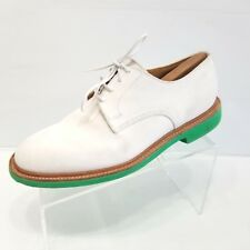 Mark McNairy New Amsterdam Mens White Suede Oxfords Bright Green Sole Size 9