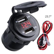 4.2A Car Charger Lighter Socket Dual USB Charger Adapter LED Voltmeter 12V-24V