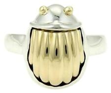 TIFFANY & CO RETIRED 80'S SCARAB 18K YELLOW GOLD PLATE STERLING  RING 5 1/2 TCO