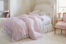 Simply Shabby Chic Ethereal Pink White Embroidered Duvet + Shams Set ~ NEW F/Qn