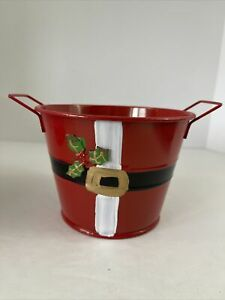 """Hand Painted Metal Round Bucket SANTA Planter With Holly Holiday Decor 5""""x3.75"""""""
