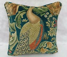 "William Morris Fabric Cushion Cover 'Forest' Azure - Velvet - Peacock - 18"""