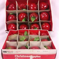 Vintage Sears Christmas Ornaments 3D Apples 24 Count Red Kitschmas
