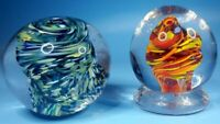Gorgeous vintage Hand Blown Spheres glass Paperweight lot fire & ice