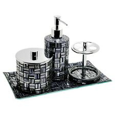 Hand Crafted Black & Silver 4 Piece Mosaic Bathroom Set