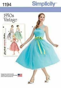 Simplicity Retro Dress Sewing Pattern 1194 (6-14) (14-22) Misses Vintage 50s