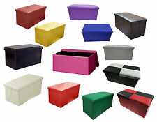 LARGE FAUX LEATHER OTTOMAN FOLDING STORAGE POUFFE FOOT STOOL TOY BOX 2 SEATER  sc 1 st  eBay & Childrenu0027s Faux Leather Toy Boxes and Chests | eBay Aboutintivar.Com