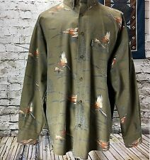 Woolrich Long Sleeve Shirt Pheasant Hunting Print Multi-Color Button Up Mens XL