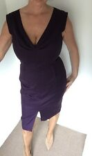 Oasis Deep Purple Plunge Front Structured Midi Pencil Dress Size 14