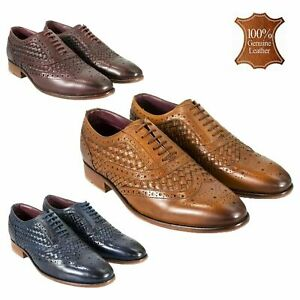 Mens Genuine Leather Italian Smart Shoes Formal Casual Wedding Footwear Brogues