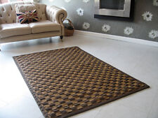BRAND NEW BROWN & CARAMEL COLOURED 6 x 4ft FAUX LEATHER DESIGNER RUG