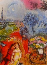 "MARC CHAGALL ""EIFFEL TOWER SERENADE"" Signed Limited Edition Lithograph Art"