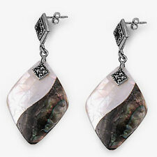 Silver Marcasite Dangle Earrings Sterling 925 Shell Mother of Pearl Jewelry Gift