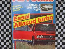revue ALFA ROMEO ALFASUD Ti TURBO / OPEL CORSA SR / 1982 AUTO-HEBDO