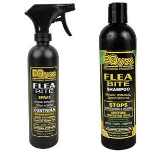 EQyss Flea Bite Dermatitis Shampoo & Spray Dog Cat Pet horse Controls Scratching