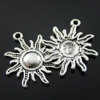 24pcs Antique Style Silver Tone Alloy Round Fire Sun Pendant Charms 23mm