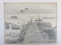 Karl Adser (1912-1995) Dänemark Nordre Rønner Boote und Seevögel Hafen Küste