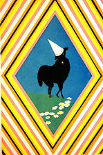 Elizabeth Cadie 1925 BLACK LAMB in DUNCE CAP Illustration Art  Print Matted
