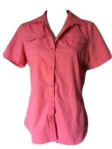 REI Outdoor Hiking Coral Short Sleeve Button Front Shirt 5 Pockets Size M