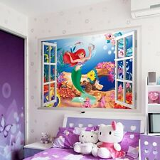 Disney Little Mermaid 3D Window Mural Wall Decal Sticker Kids Girls Room Decor