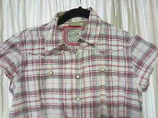RUFF HEWN~Pearl Snap Front~Western Style~Stretch Top~Pink Striped Plaid~Size S
