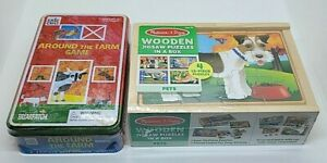 (2) MELISSA AND DOUG WOODEN PUZZLES AND ERIC CARLE AROUND THE FARM GAME NEW