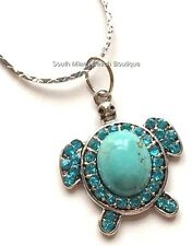 Silver Plated Turquoise Sea Turtle Necklace Stone Crystals Nautical USA Seller