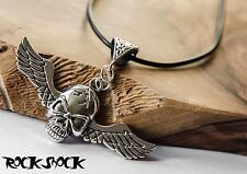 Skull Wings Necklace Pendant Tibetan Silver Alchemy Rock Gothic Mens Jewellery