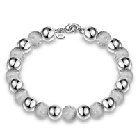 925 Silver Plated Charm Women Light Frosted Beads Chain Bracelet Bangle Jewelry
