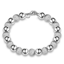 Fashion Women 925 Silver Plated Light Frosted Beads Bangle Cuff Bracelet Jewelry